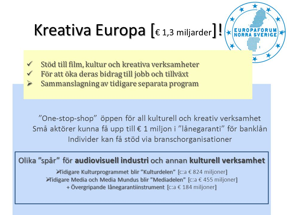Kreativa Europa [€ 1,3 miljarder]!